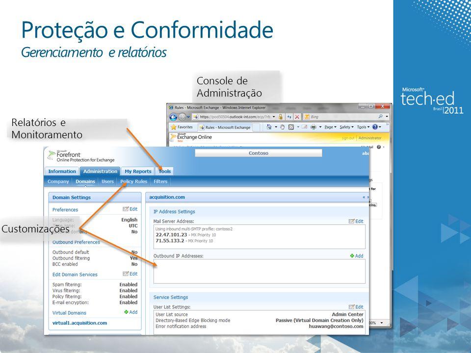 Console de Administração Customizações Relatórios e Monitoramento