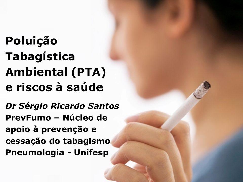 Poluição Tabagística Ambiental (PTA) e riscos à saúde Dr Sérgio Ricardo Santos PrevFumo – Núcleo de apoio à prevenção e cessação do tabagismo Pneumologia - Unifesp