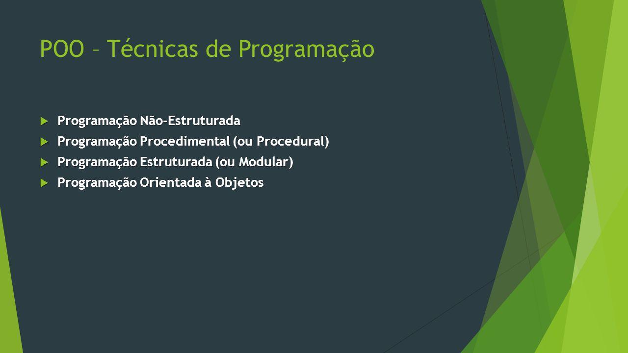 POO – Técnicas de Programação  Programação Não-Estruturada  Programação Procedimental (ou Procedural)  Programação Estruturada (ou Modular)  Programação Orientada à Objetos