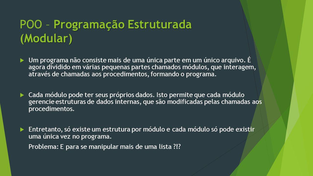 Programação Estruturada (Modular) POO – Programação Estruturada (Modular)  Um programa não consiste mais de uma única parte em um único arquivo.