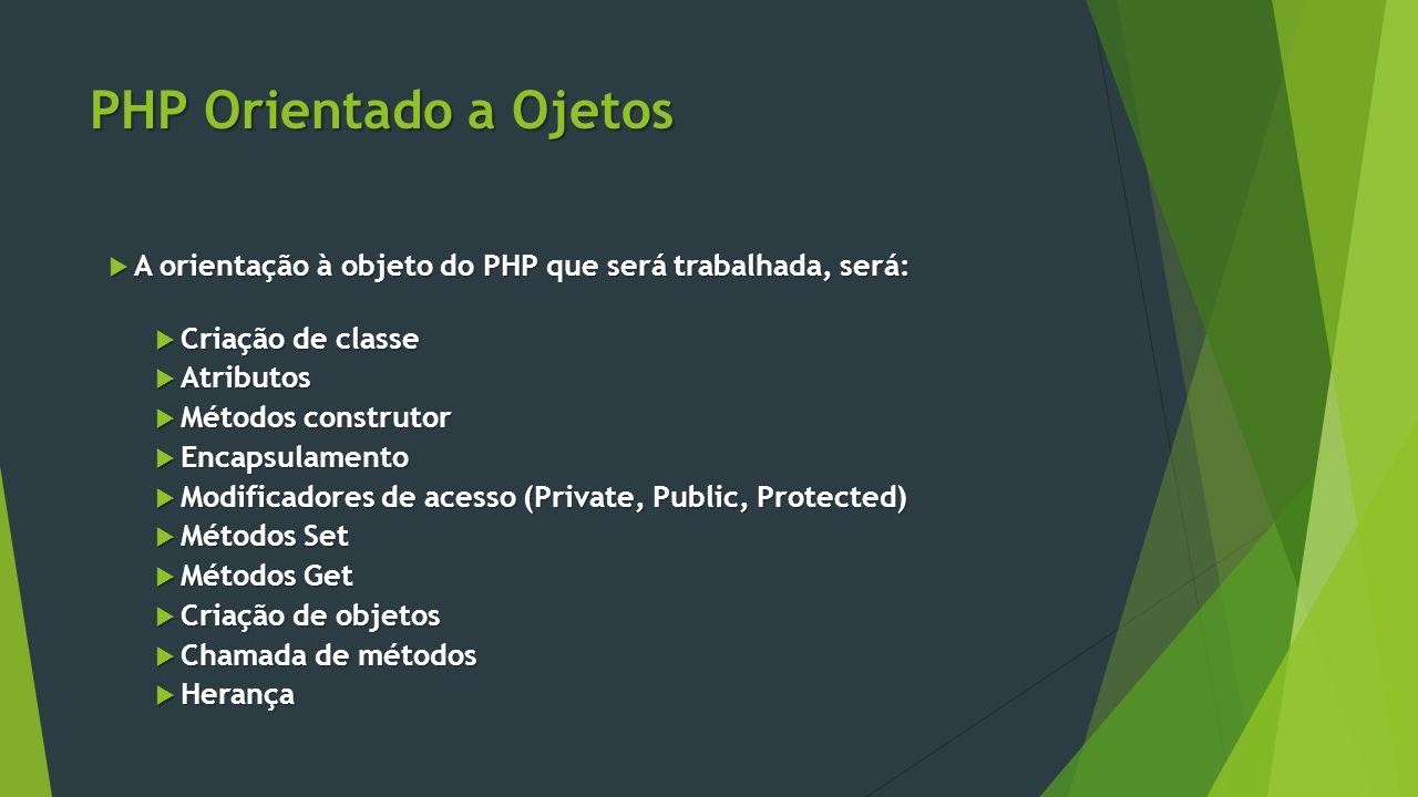 PHP Orientado a Ojetos  A orientação à objeto do PHP que será trabalhada, será:  Criação de classe  Atributos  Métodos construtor  Encapsulamento  Modificadores de acesso (Private, Public, Protected)  Métodos Set  Métodos Get  Criação de objetos  Chamada de métodos  Herança