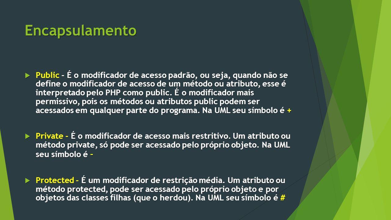 Encapsulamento  Public - É o modificador de acesso padrão, ou seja, quando não se define o modificador de acesso de um método ou atributo, esse é interpretado pelo PHP como public.