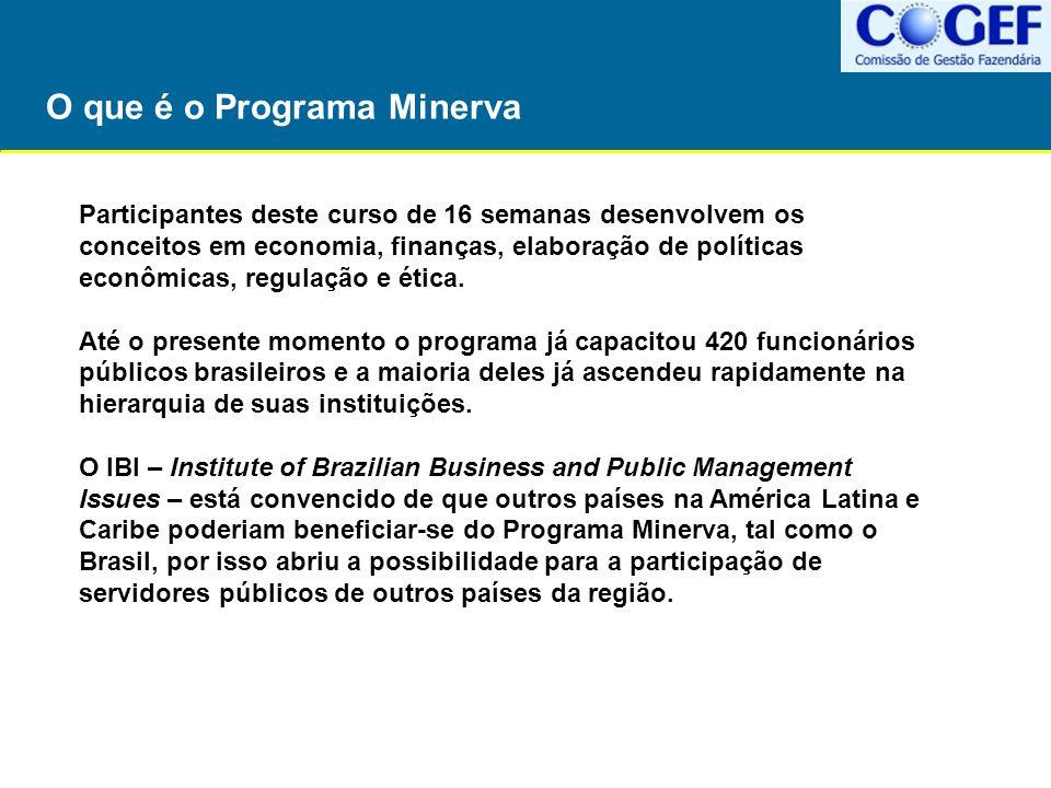 O que é o Programa Minerva Participantes deste curso de 16 semanas desenvolvem os conceitos em economia, finanças, elaboração de políticas econômicas,