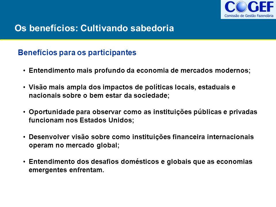 Os benefícios: Cultivando sabedoria Benefícios para os participantes Entendimento mais profundo da economia de mercados modernos; Visão mais ampla dos