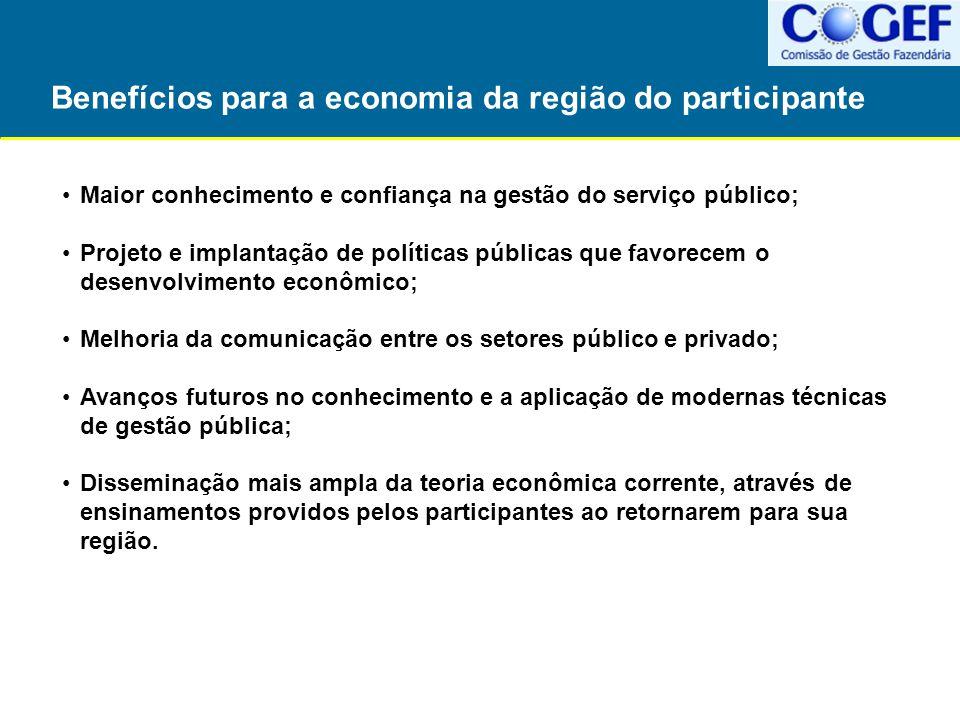 Benefícios para a economia da região do participante Maior conhecimento e confiança na gestão do serviço público; Projeto e implantação de políticas p