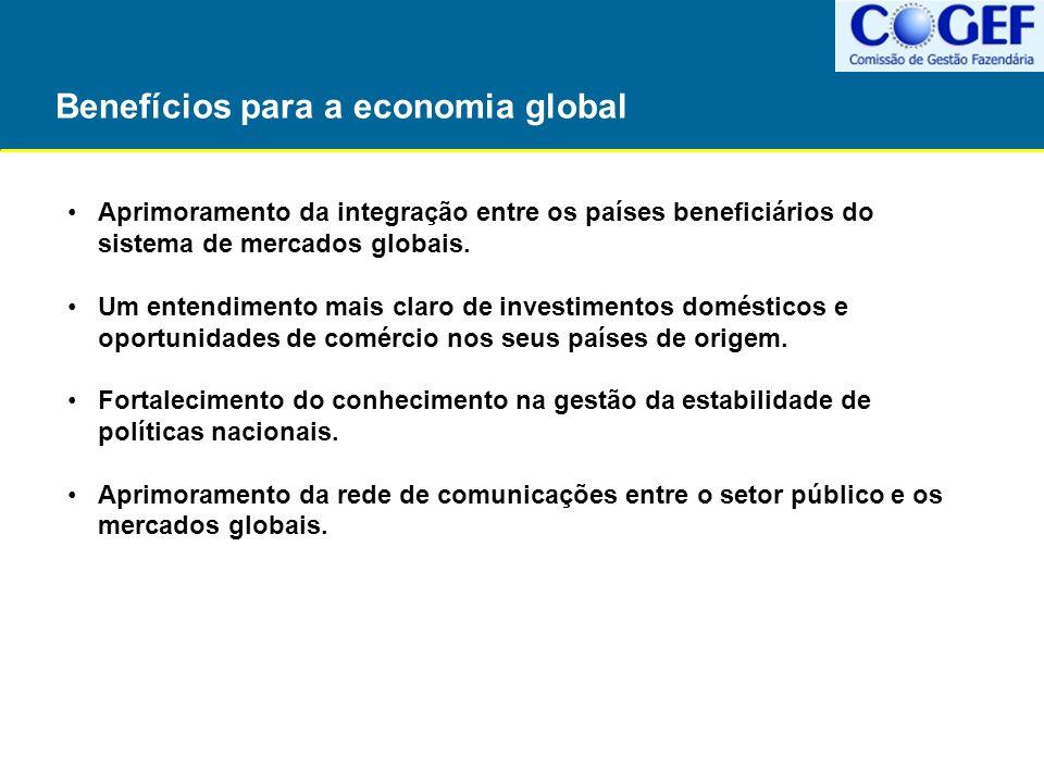 Benefícios para a economia global Aprimoramento da integração entre os países beneficiários do sistema de mercados globais. Um entendimento mais claro