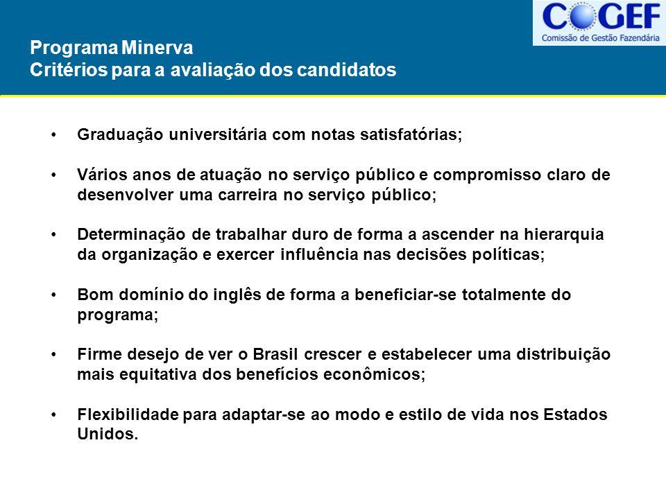 Programa Minerva Critérios para a avaliação dos candidatos Graduação universitária com notas satisfatórias; Vários anos de atuação no serviço público