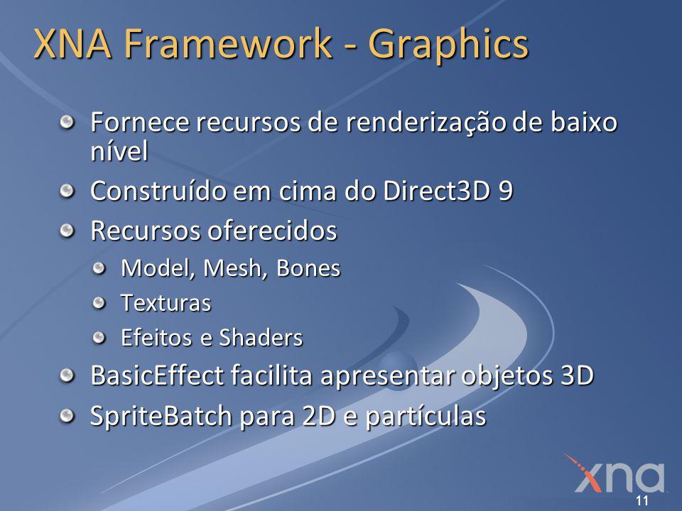 11 XNA Framework - Graphics Fornece recursos de renderização de baixo nível Construído em cima do Direct3D 9 Recursos oferecidos Model, Mesh, Bones Te