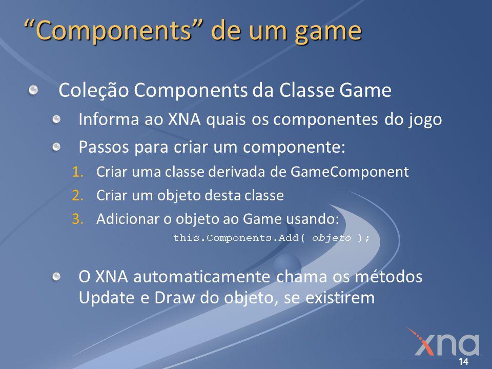 """14 """"Components"""" de um game Coleção Components da Classe Game Informa ao XNA quais os componentes do jogo Passos para criar um componente: 1. 1.Criar u"""