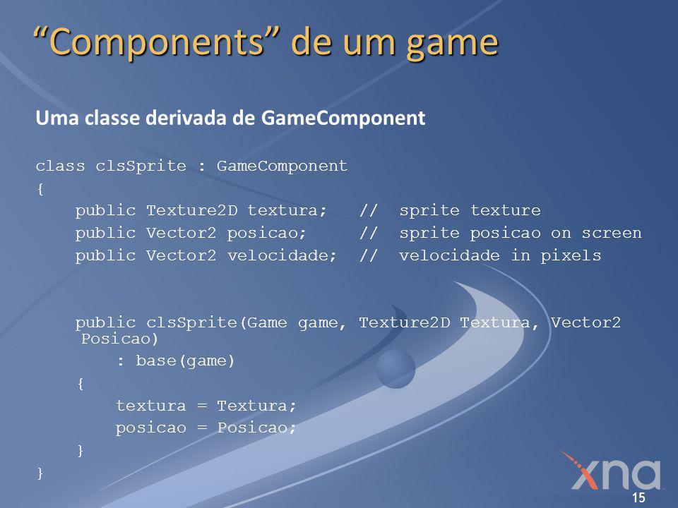 "15 ""Components"" de um game Uma classe derivada de GameComponent class clsSprite : GameComponent { public Texture2D textura; // sprite texture public V"