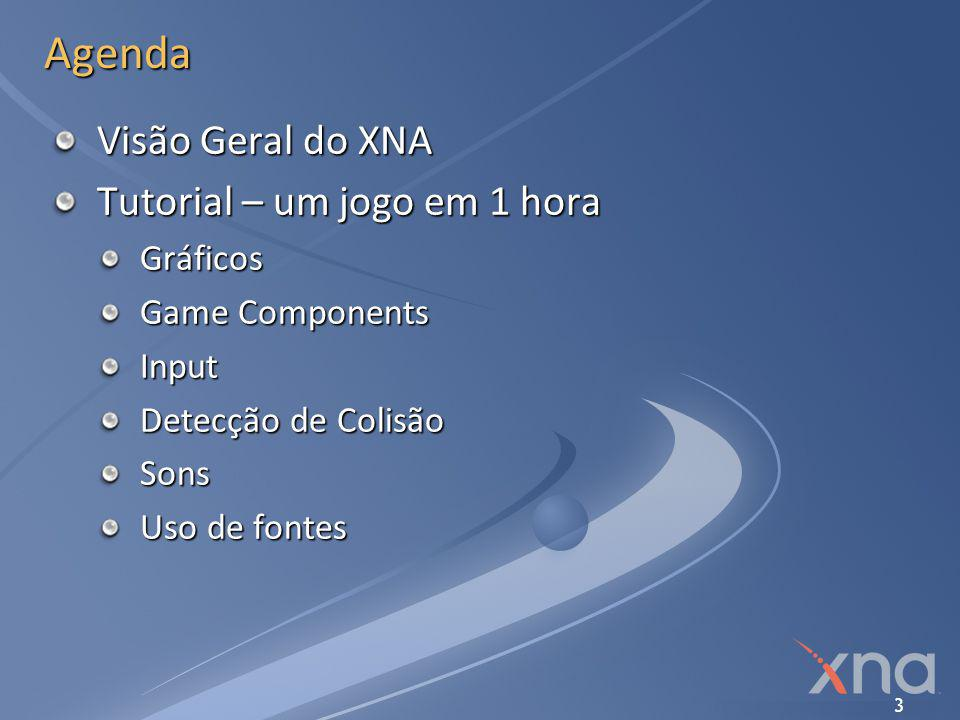 3 Agenda Visão Geral do XNA Tutorial – um jogo em 1 hora Gráficos Game Components Input Detecção de Colisão Sons Uso de fontes
