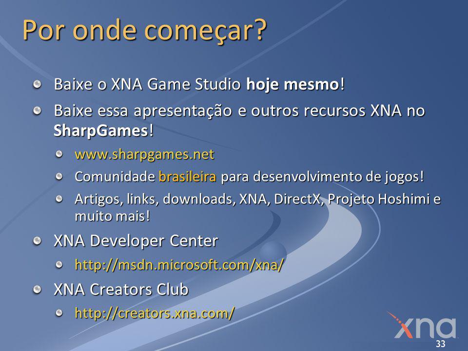 33 Por onde começar? Baixe o XNA Game Studio hoje mesmo! Baixe essa apresentação e outros recursos XNA no SharpGames! www.sharpgames.net Comunidade br
