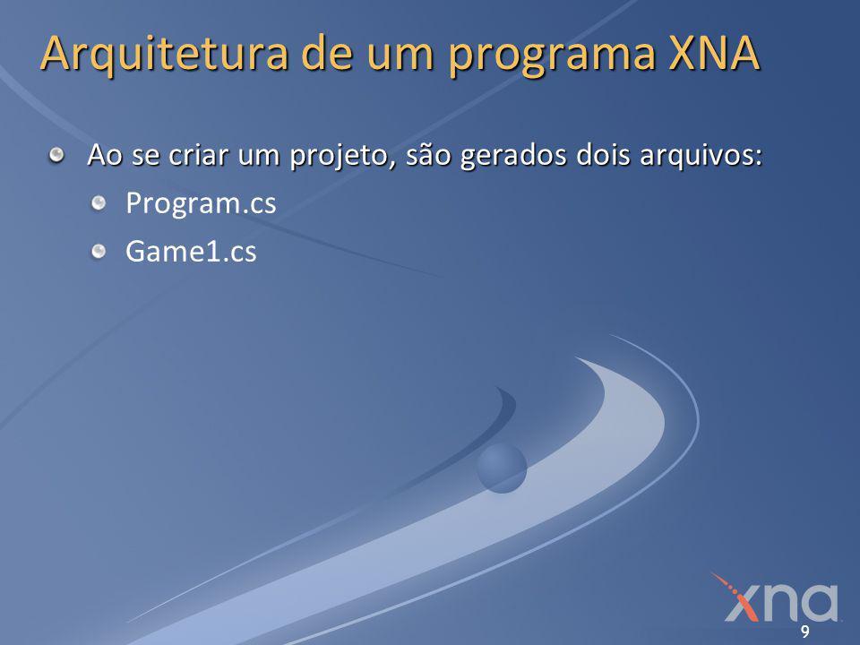9 Arquitetura de um programa XNA Ao se criar um projeto, são gerados dois arquivos: Program.cs Game1.cs