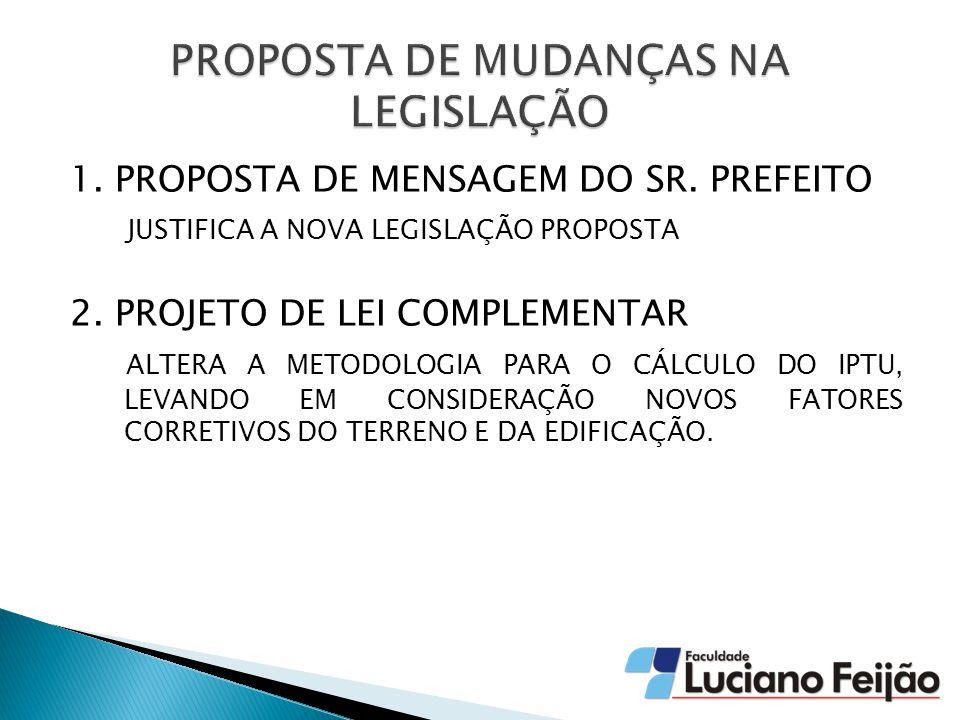 1.PROPOSTA DE MENSAGEM DO SR. PREFEITO JUSTIFICA A NOVA LEGISLAÇÃO PROPOSTA 2.