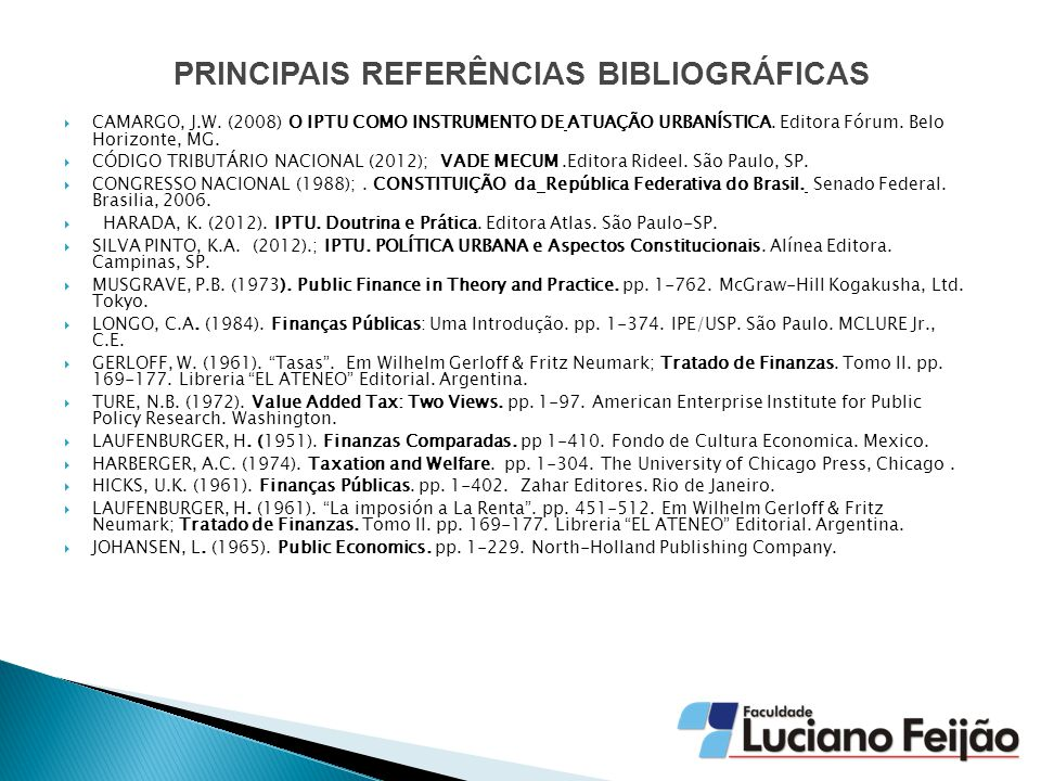 PRINCIPAIS REFERÊNCIAS BIBLIOGRÁFICAS  CAMARGO, J.W.