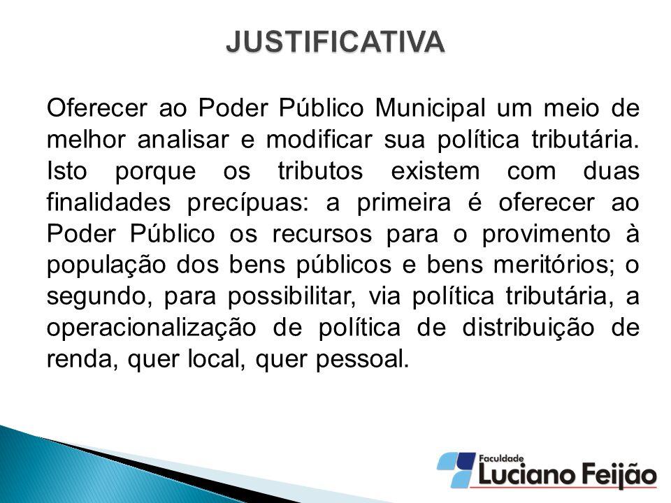 Oferecer ao Poder Público Municipal um meio de melhor analisar e modificar sua política tributária.