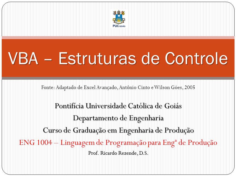 Pontifícia Universidade Católica de Goiás Departamento de Engenharia Curso de Graduação em Engenharia de Produção ENG 1004 – Linguagem de Programação para Engª de Produção Prof.