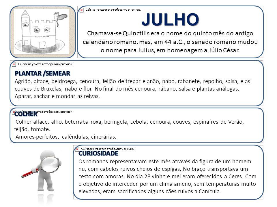 JULHO Chamava-se Quinctilis era o nome do quinto mês do antigo calendário romano, mas, em 44 a.C., o senado romano mudou o nome para Julius, em homenagem a Júlio César.