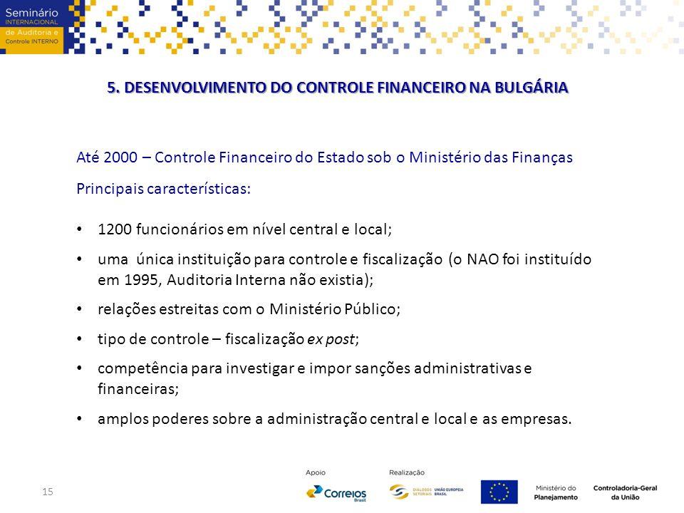 Até 2000 – Controle Financeiro do Estado sob o Ministério das Finanças Principais características: 1200 funcionários em nível central e local; uma úni