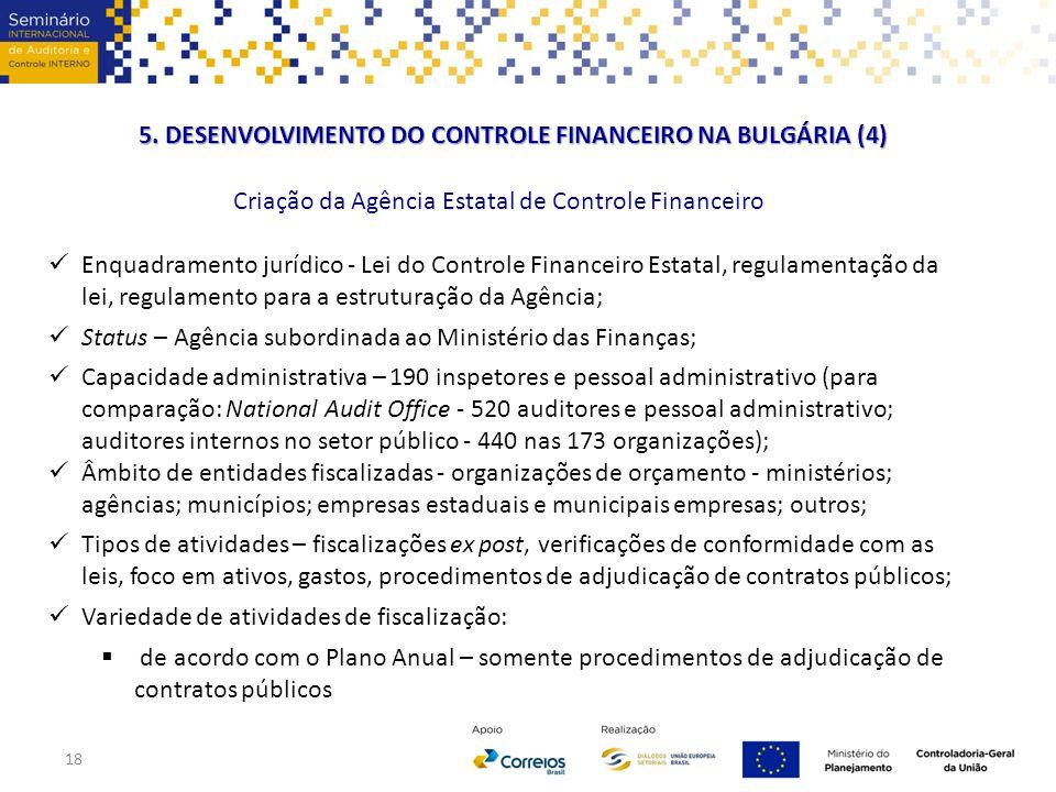 Criação da Agência Estatal de Controle Financeiro Enquadramento jurídico - Lei do Controle Financeiro Estatal, regulamentação da lei, regulamento para