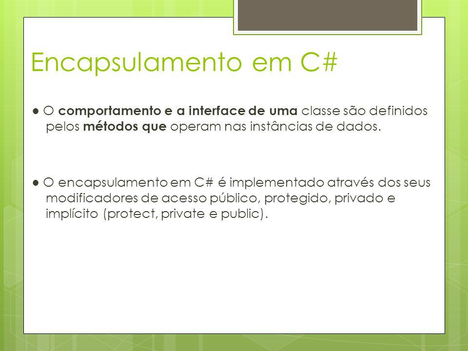 Encapsulamento em C# ● O comportamento e a interface de uma classe são definidos pelos métodos que operam nas instâncias de dados. ● O encapsulamento