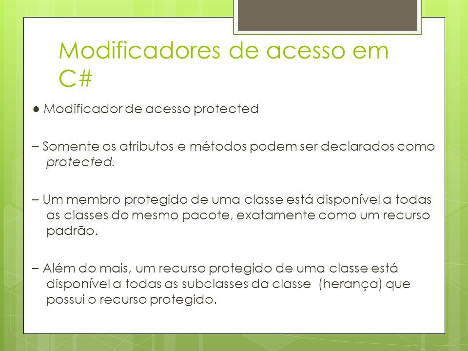 Modificadores de acesso em C# ● Modificador de acesso protected – Somente os atributos e métodos podem ser declarados como protected. – Um membro prot