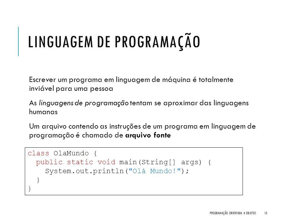 LINGUAGEM DE PROGRAMAÇÃO Escrever um programa em linguagem de máquina é totalmente inviável para uma pessoa As linguagens de programação tentam se apr