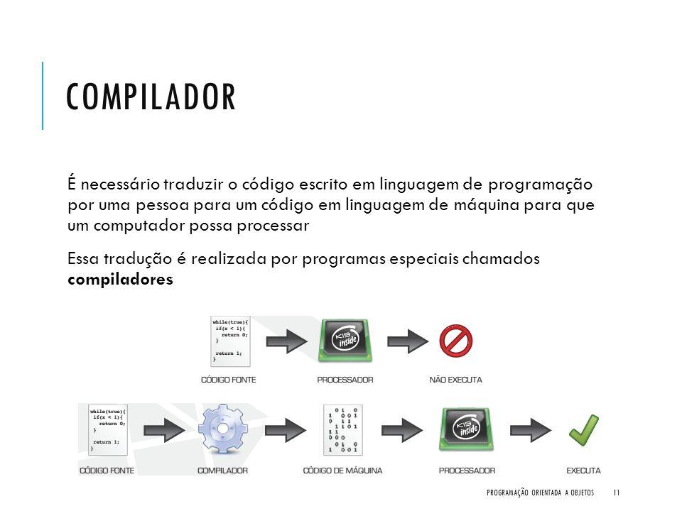 COMPILADOR É necessário traduzir o código escrito em linguagem de programação por uma pessoa para um código em linguagem de máquina para que um comput