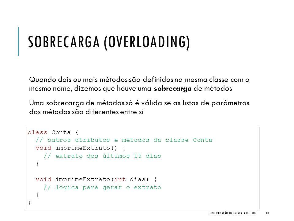 SOBRECARGA (OVERLOADING) Quando dois ou mais métodos são definidos na mesma classe com o mesmo nome, dizemos que houve uma sobrecarga de métodos Uma s
