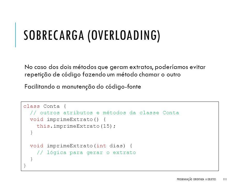 SOBRECARGA (OVERLOADING) No caso dos dois métodos que geram extratos, poderíamos evitar repetição de código fazendo um método chamar o outro Facilitan