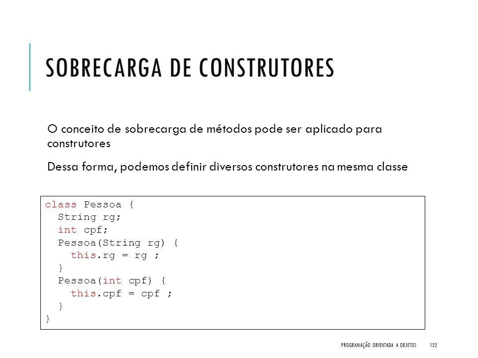 SOBRECARGA DE CONSTRUTORES O conceito de sobrecarga de métodos pode ser aplicado para construtores Dessa forma, podemos definir diversos construtores