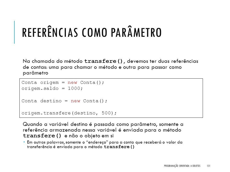 REFERÊNCIAS COMO PARÂMETRO Na chamada do método transfere(), devemos ter duas referências de contas: uma para chamar o método e outra para passar como