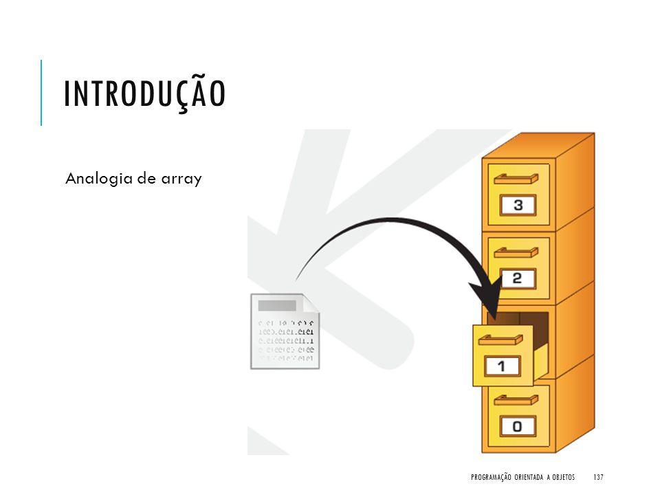 INTRODUÇÃO Analogia de array PROGRAMAÇÃO ORIENTADA A OBJETOS137