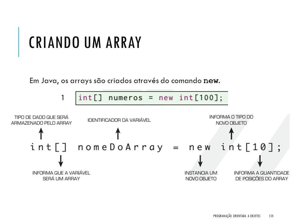 CRIANDO UM ARRAY Em Java, os arrays são criados através do comando new. PROGRAMAÇÃO ORIENTADA A OBJETOS138