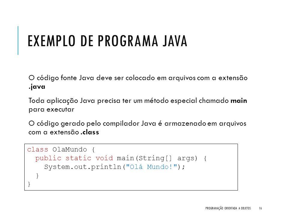 EXEMPLO DE PROGRAMA JAVA O código fonte Java deve ser colocado em arquivos com a extensão.java Toda aplicação Java precisa ter um método especial cham