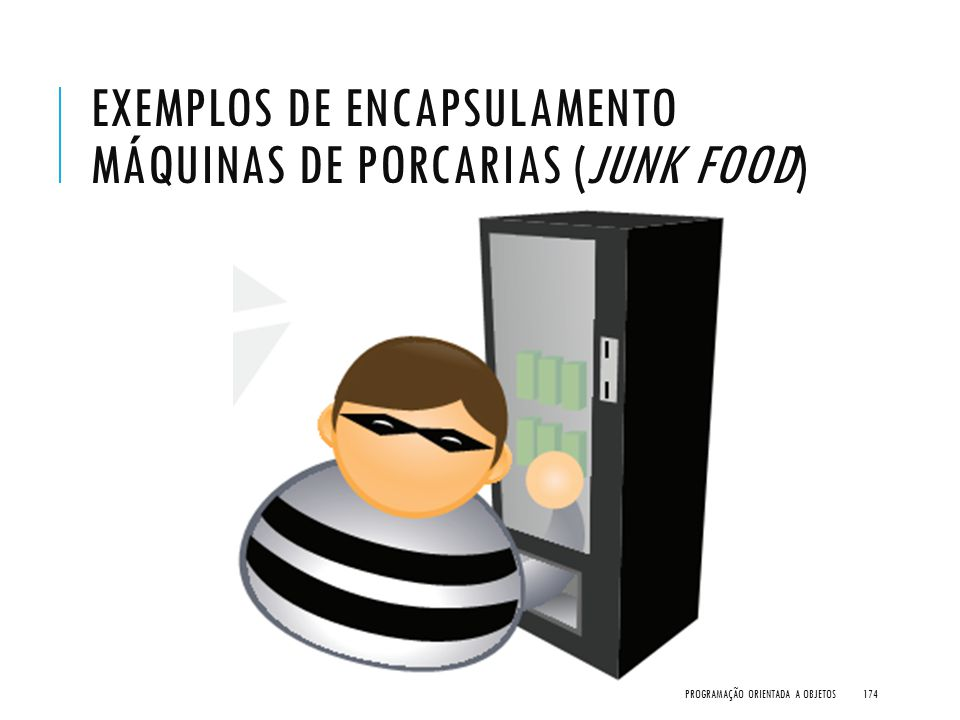 EXEMPLOS DE ENCAPSULAMENTO MÁQUINAS DE PORCARIAS (JUNK FOOD) PROGRAMAÇÃO ORIENTADA A OBJETOS174