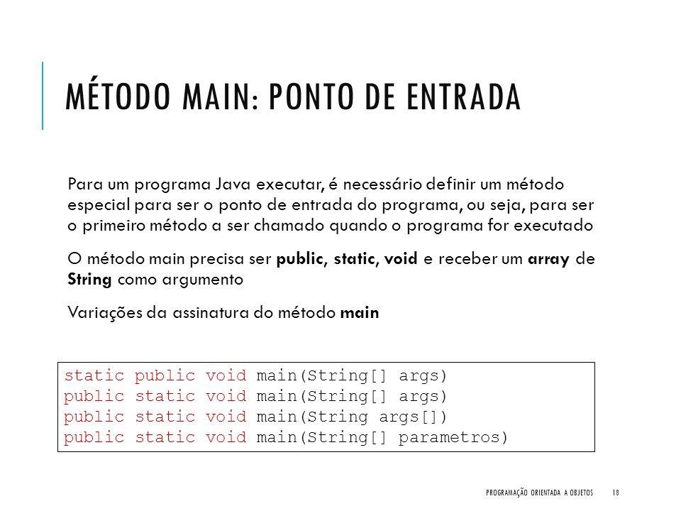 MÉTODO MAIN: PONTO DE ENTRADA Para um programa Java executar, é necessário definir um método especial para ser o ponto de entrada do programa, ou seja