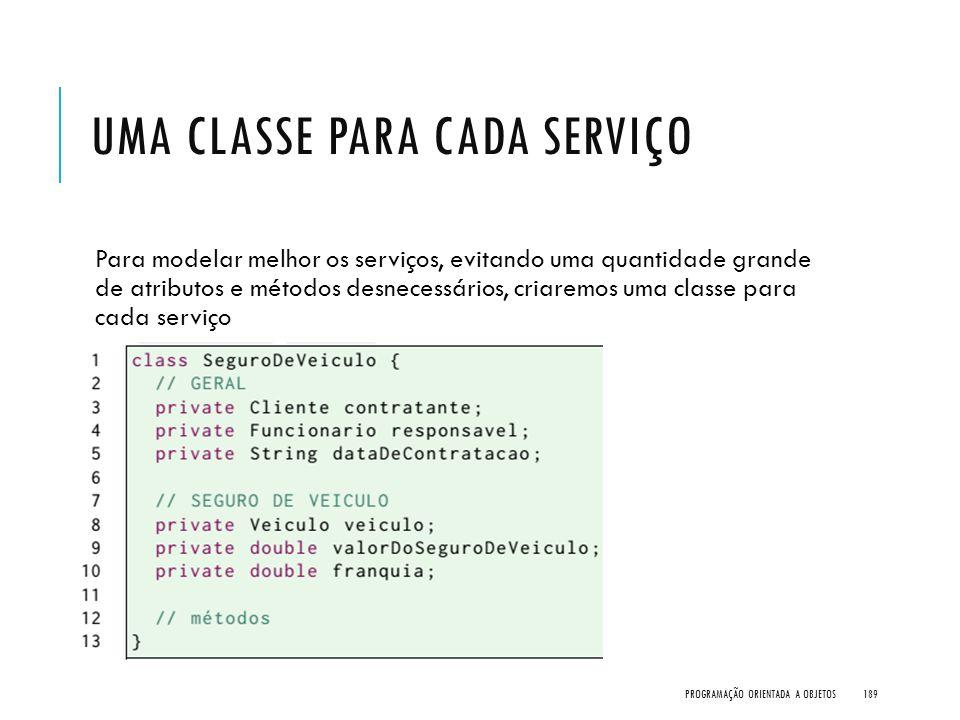 UMA CLASSE PARA CADA SERVIÇO Para modelar melhor os serviços, evitando uma quantidade grande de atributos e métodos desnecessários, criaremos uma clas