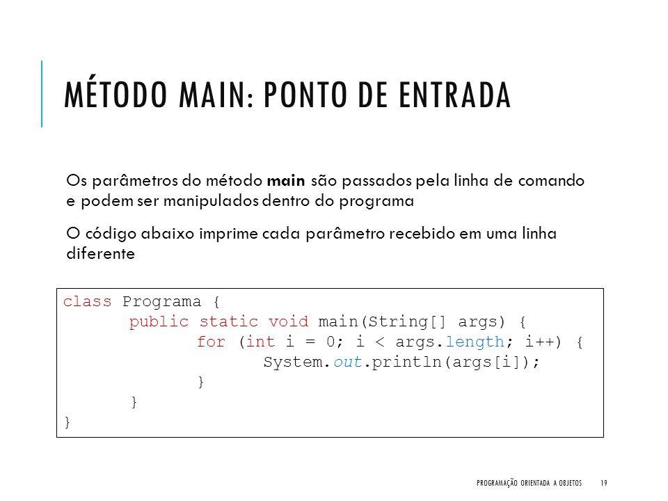 MÉTODO MAIN: PONTO DE ENTRADA Os parâmetros do método main são passados pela linha de comando e podem ser manipulados dentro do programa O código abai