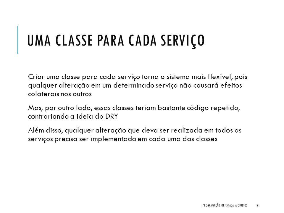 UMA CLASSE PARA CADA SERVIÇO Criar uma classe para cada serviço torna o sistema mais flexível, pois qualquer alteração em um determinado serviço não c
