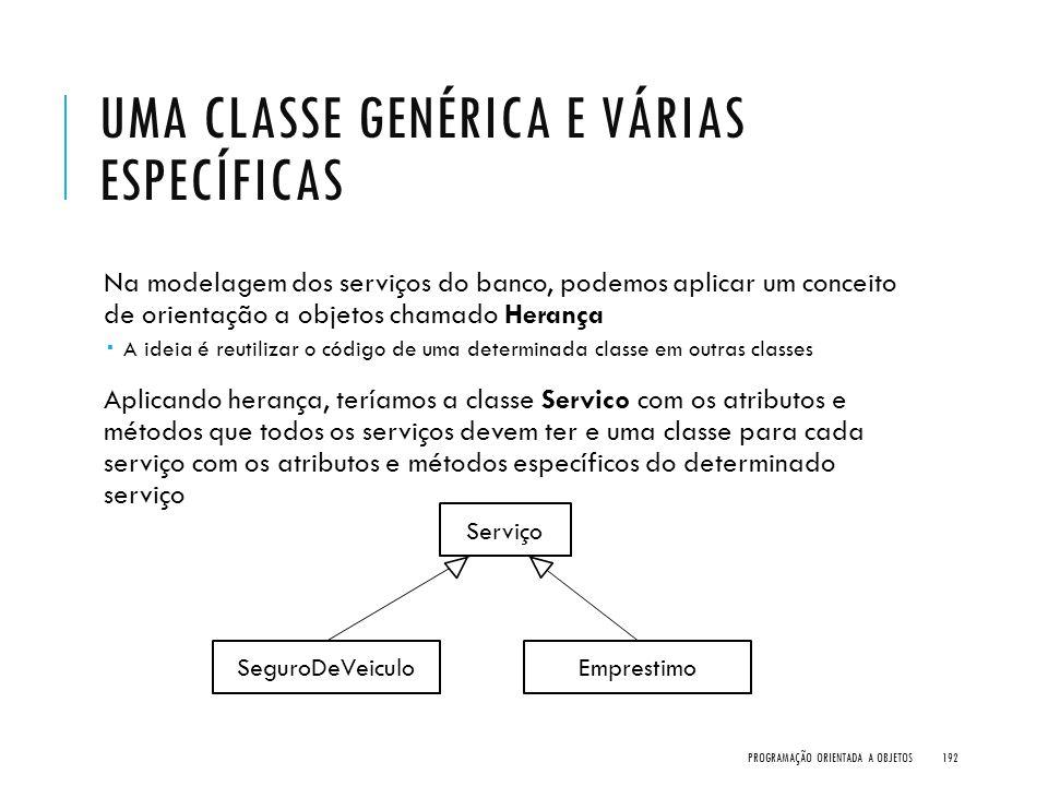 UMA CLASSE GENÉRICA E VÁRIAS ESPECÍFICAS Na modelagem dos serviços do banco, podemos aplicar um conceito de orientação a objetos chamado Herança  A i