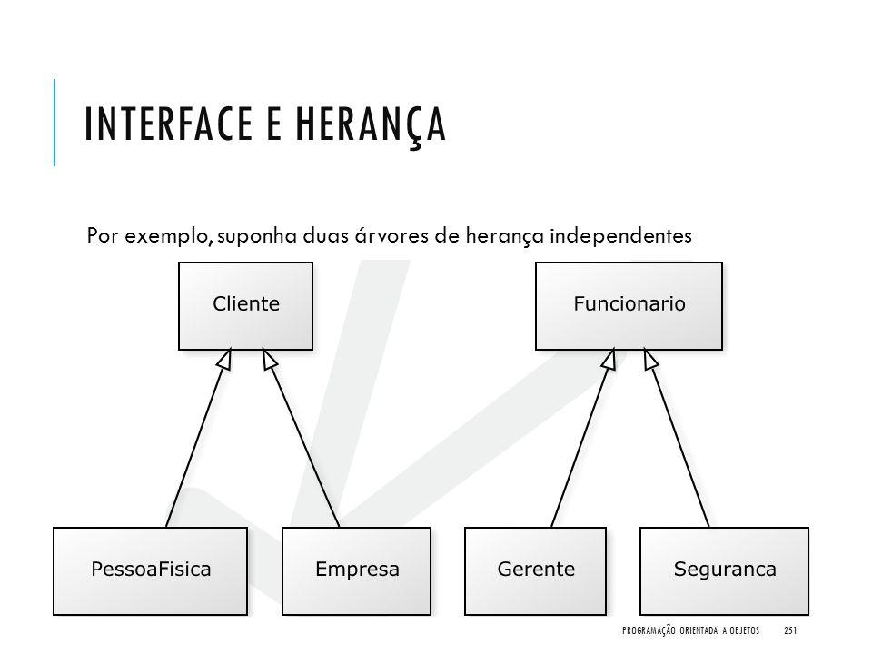 INTERFACE E HERANÇA Por exemplo, suponha duas árvores de herança independentes PROGRAMAÇÃO ORIENTADA A OBJETOS251