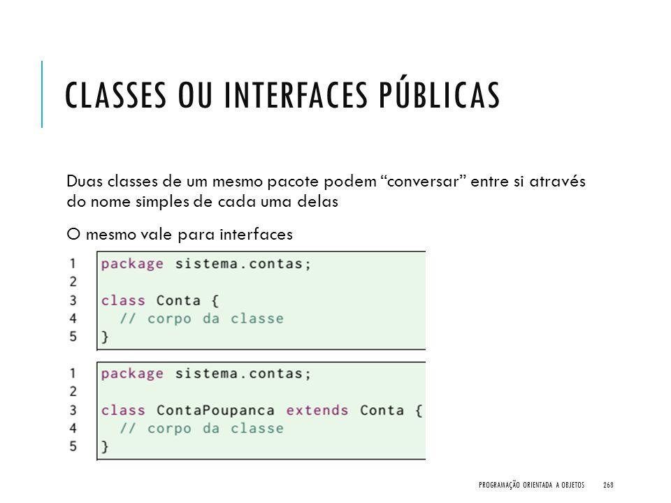 """CLASSES OU INTERFACES PÚBLICAS Duas classes de um mesmo pacote podem """"conversar"""" entre si através do nome simples de cada uma delas O mesmo vale para"""
