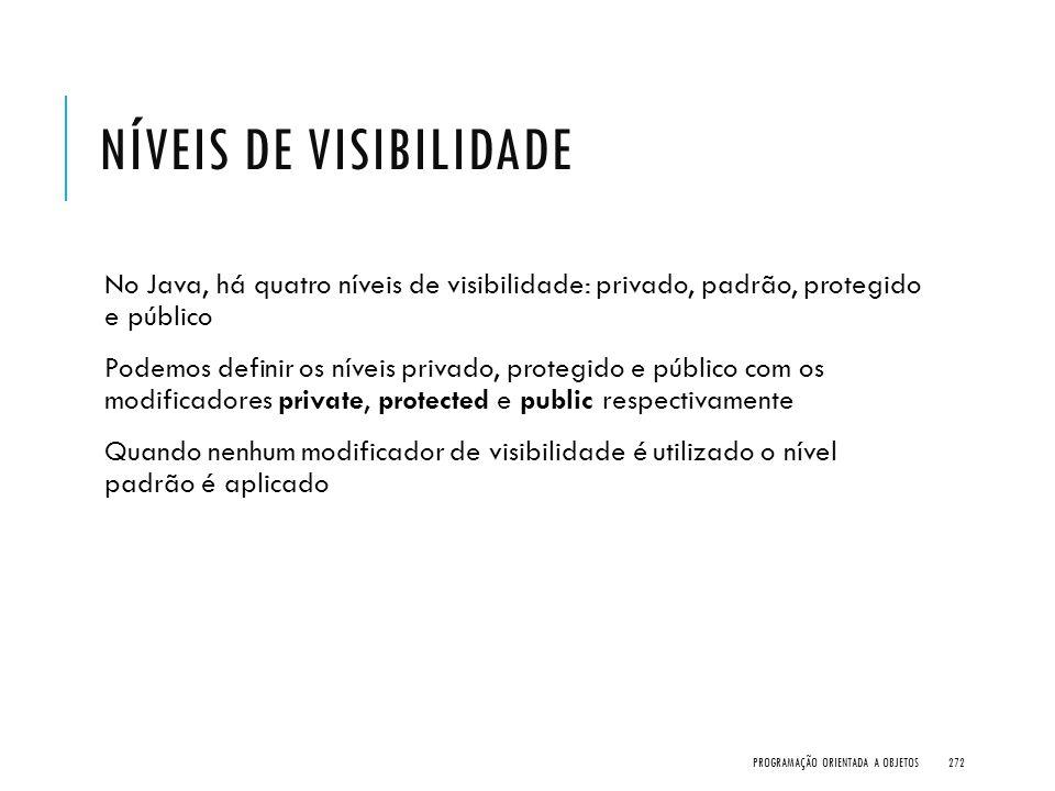 NÍVEIS DE VISIBILIDADE No Java, há quatro níveis de visibilidade: privado, padrão, protegido e público Podemos definir os níveis privado, protegido e