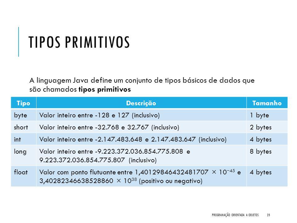 TIPOS PRIMITIVOS A linguagem Java define um conjunto de tipos básicos de dados que são chamados tipos primitivos PROGRAMAÇÃO ORIENTADA A OBJETOS28 Tip
