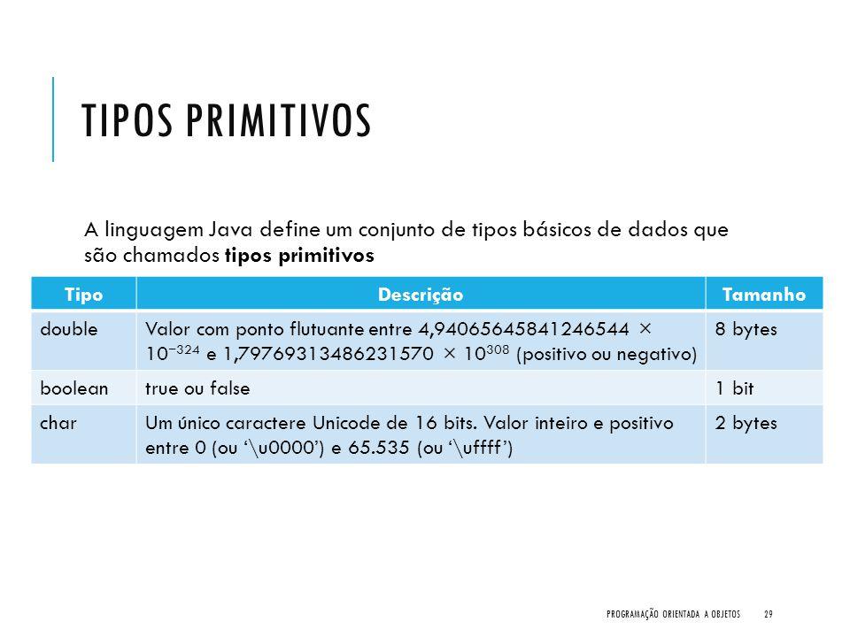 TIPOS PRIMITIVOS A linguagem Java define um conjunto de tipos básicos de dados que são chamados tipos primitivos PROGRAMAÇÃO ORIENTADA A OBJETOS29 Tip