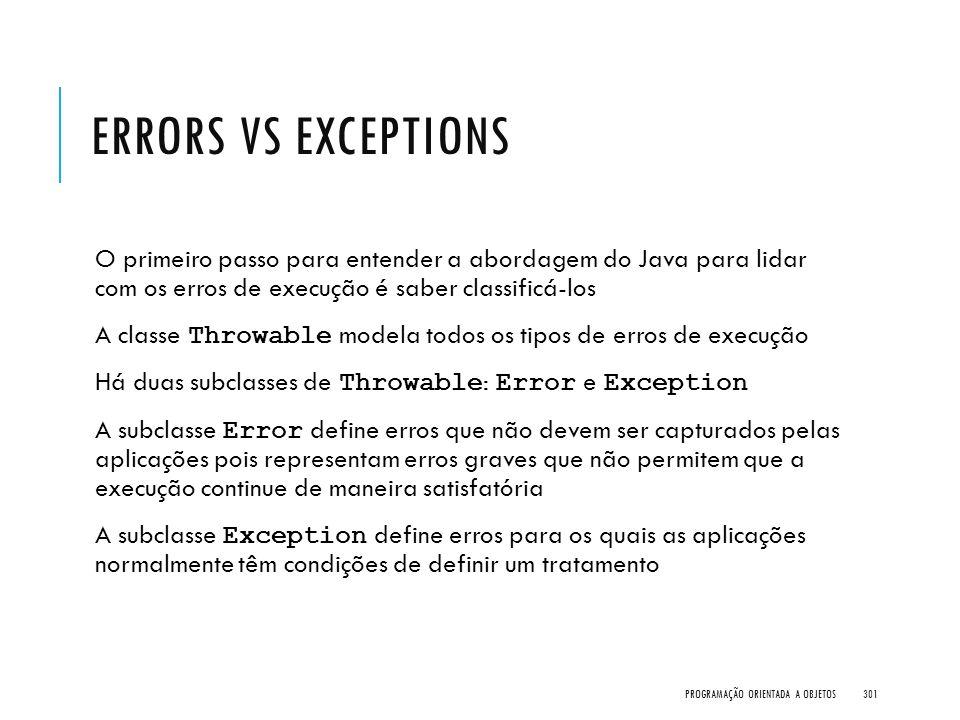 ERRORS VS EXCEPTIONS O primeiro passo para entender a abordagem do Java para lidar com os erros de execução é saber classificá-los A classe Throwable