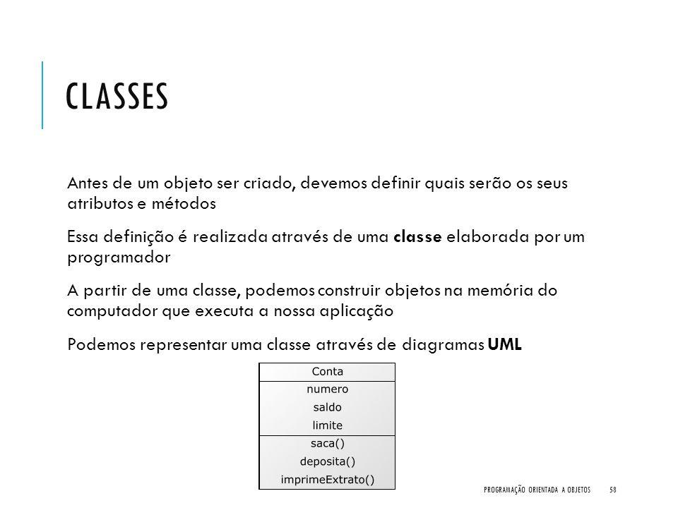 CLASSES Antes de um objeto ser criado, devemos definir quais serão os seus atributos e métodos Essa definição é realizada através de uma classe elabor