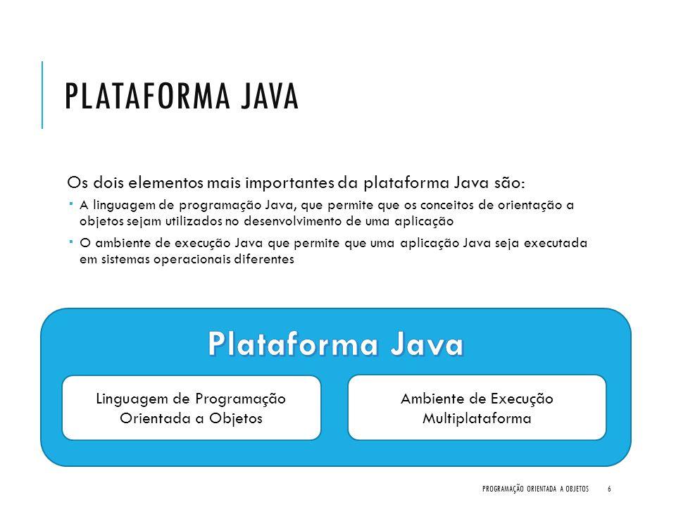 PLATAFORMA JAVA Os dois elementos mais importantes da plataforma Java são:  A linguagem de programação Java, que permite que os conceitos de orientaç