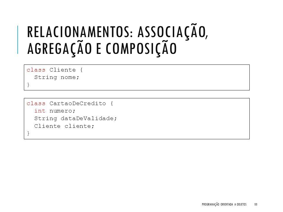 RELACIONAMENTOS: ASSOCIAÇÃO, AGREGAÇÃO E COMPOSIÇÃO PROGRAMAÇÃO ORIENTADA A OBJETOS88 class Cliente { String nome; } class CartaoDeCredito { int numer